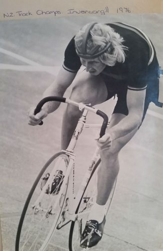 Jack at the NZ track champs Invergargill 1976 winning the NZ IP title for the first time