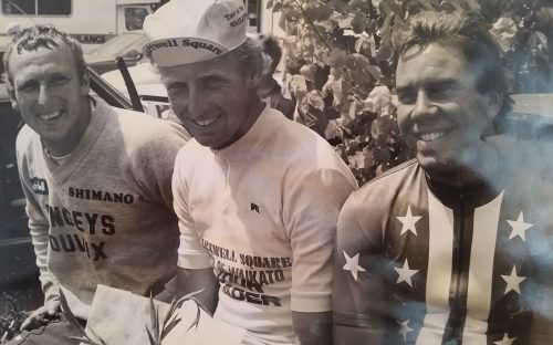 Stephen Cox and Jack at the Tour of Waikato 1982