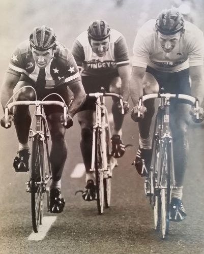Jack putting the pressure on in the Tour of the Waikato 1982