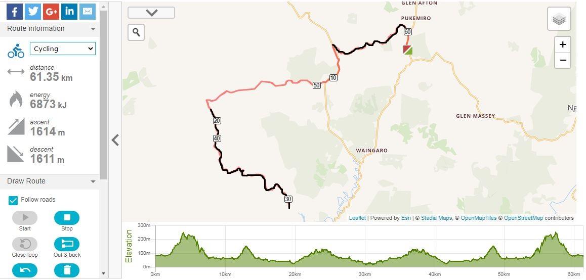Otorohaea Road (Pukemiro) to Ruakiwi Road and return